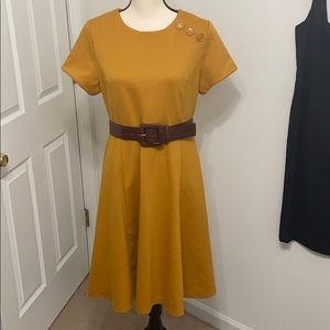 Retro look mustard gold a line belted midi dress